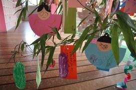 軒端に揺れる七夕飾り。子どもたちの力作をご鑑賞ください。